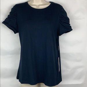 Ellie Tahari Navy tee with ruching on sleeves